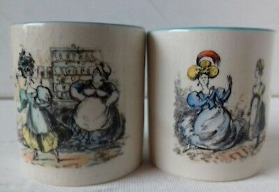 2 Gray's Pottery Stoke beakers charicature Regency costume ladies + servants