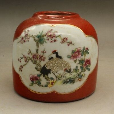 Chinese old porcelain famille rose crane pattern  wash hand-made