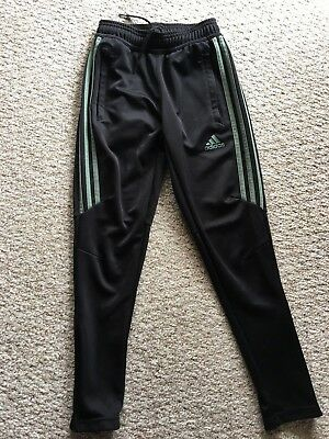 ADIDAS Athletic Pants CLIMACOOL Track Black Green Youth Boys Girls Size S