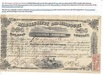 Stk-Mississippi & Missouri RR 1863 Iowa TWO GREAT vignettes See image #6