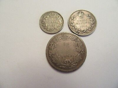 Lot of 3  Canada Silver Coins 80% silver, mix dates & denominations