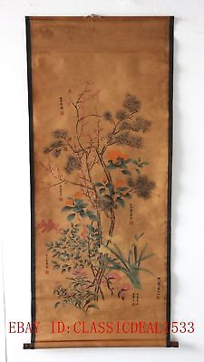 Old Collection Scroll Chinese Ink And Wash Painting/ Six Kinds of Flowers ZH1022