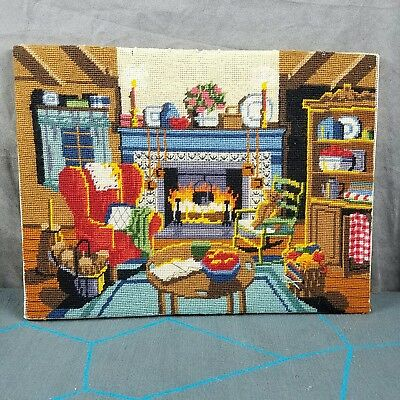 Vintage Complete Needlepoint WINTER WARMTH Dimensions 12 x 16 Unframed 2241