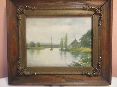 """Rare Antique Wood Gilt Frames Victorian and Picture by J.B.Martin 7"""" x 6"""" In."""