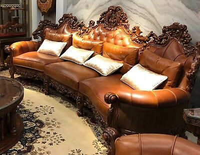 Stunning Hand Craft Wooden Fish Pond Artistic Theme Leather Sofa Couch