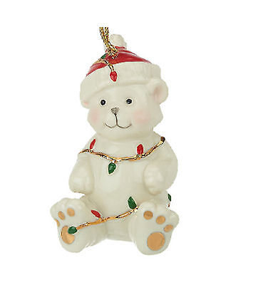 Lenox MERRY LITTLE CHRISTMAS TEDDY BEAR IN LIGHTS ORNAMENT Porcelain NEW IN BOX