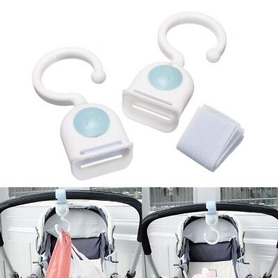 2 x Pushchair Pram Buggy Baby Stroller Hanging Hook Shopping Bag Clips Clamps