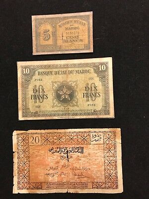 MOROCCO  Paper Money  ,  VINTAGE  5 - 10- 20 francs
