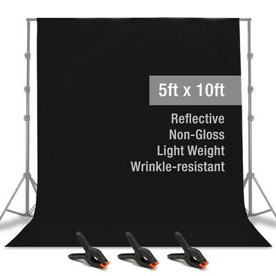 5' x 10' Black Muslin Backdrop Photography Background with Spring Clamps