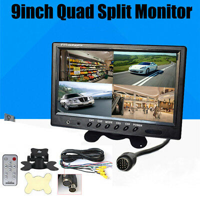 """9"""" Car Quad Split Auto LCD Monitor Screen 4 Display Security Rear View Monitor"""