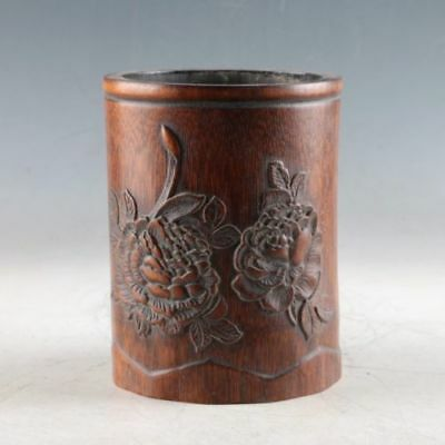 Exquisite Bamboo Wood Hand Carved The Flowers Brush Pot