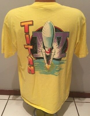 Vintage 90s USAF Titan IV Rocket Launch Graphic 2-Sided T-Shirt L Single Stitch