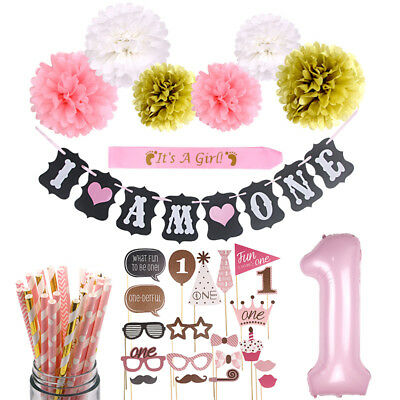 1st Birthday Baby Boy Girl Photo Booth First 1 Year Party Decorations Supplies