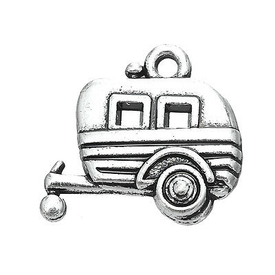 10pcs Camper RV Trailer Camping Car Charms Jewelry Antique Bulk Pendants Lot