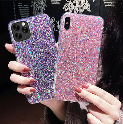 For Apple iPhone X 7 8 6 Plus Bling Sparkle Glitter Strap Soft Rubber Case Cover