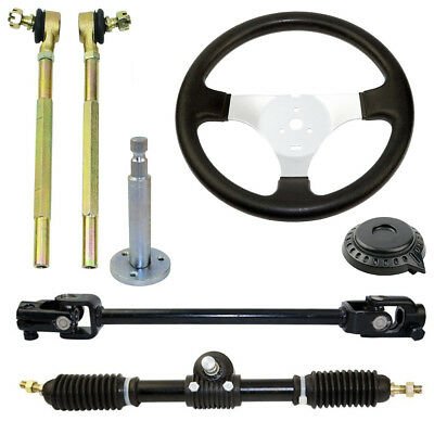 110cc Go Kart steering wheel assembly set tie rod steering rack adjustable shaft