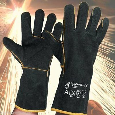 1 pair Heavy Duty Black Mig Welding Gloves Gauntlets Welders Leather Gloves
