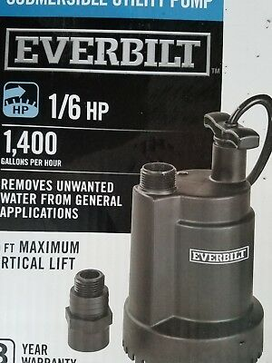 EverBilt 1/6 HP Submersible Utility Pump 1400Gallons Per Hour