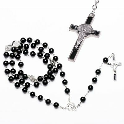 Catholic Virgin Mary Black Crystal Beads Women Silver Rosary Necklace Chain