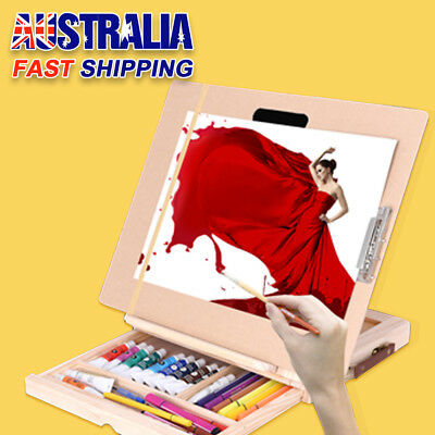 Portable Folding Table Easel Wood Artist Easel Painting Stand Craft Drawer AU