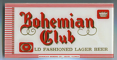 Bohemian Club Beer Reverse On Glass Sign Bohemian Brewing Co. Joliet IL ROG