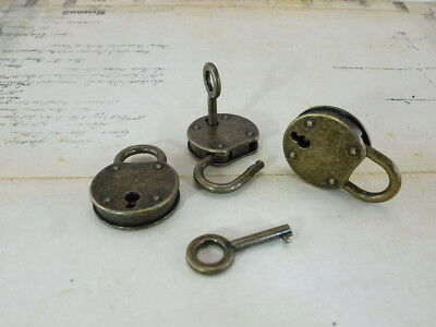 Old Vintage Antique Style Small  Padlock w/ Keys-Antique Bronze Color-3 pcs(New)