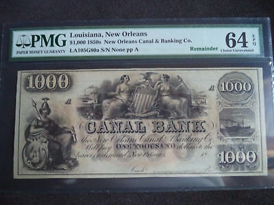 1850's $1000 Obsolete Note, PMG Certified MS64, Very Rare, Beautiful (BSBC)*