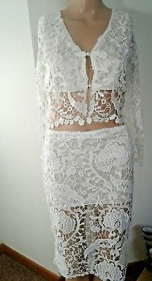White Sexy Lace See Through 2 Piece Top And Skirt Size S/M