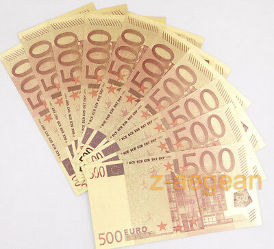Lot 10 Pcs Gold-plated 500 Euros Paper Money Banknote Crafts Collection New
