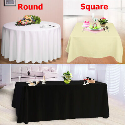 White Polyester Tablecloth Table Cloth Cover / Satin Table Runners Chair Swags