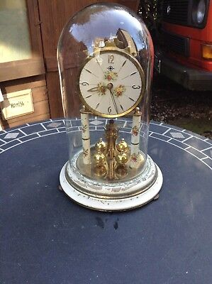 Vintage Mantel Clock With Glass Dome