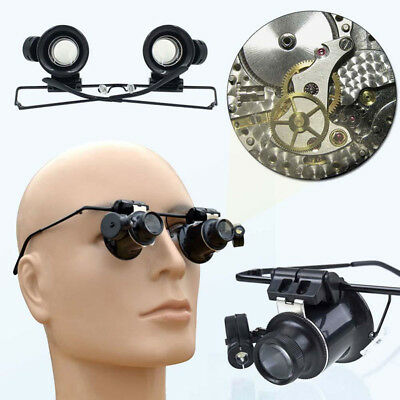 20X Watch Magnifier Jeweler Magnifying Eye Glasses Loupe Lens Repair LED Light
