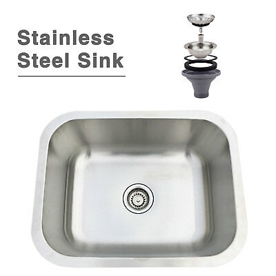 "23"" Under Mount Bowl Stainless Steel Sink Kitchen Sink Single Bowl with Strainer"