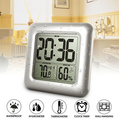 Waterproof Shower Bathroom Timer Thermometer Hygrometer Suction Cup Wall Clock