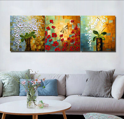 "16X16"" X3PCS Wall Decor Oil Painting Canvas Print Art NO FRAME Flowers in Vase"