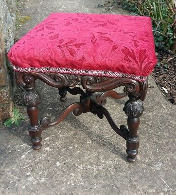 antique heavily carved stool, foot stool