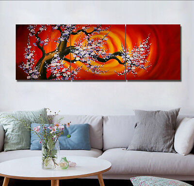 Plum Tree Flowers 3 Panels Canvas Print Wall Art Oil Painting Modern Home Decor