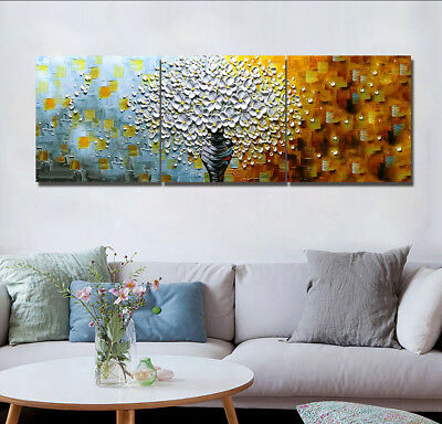 "16X16"" X3PCS Wall Decor Art Oil Painting on Canvas NO FRAME White Flower in Vase"