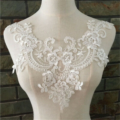 Lace Floral Wedding Motif Embroidery Applique Sew Neckline Dress Trim Craft DIY