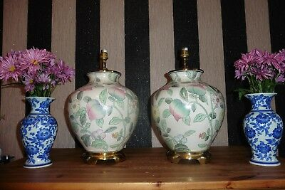 Large Pair Of Vintage Chinese Ginger Jar Table Lamps With Vintage Shades