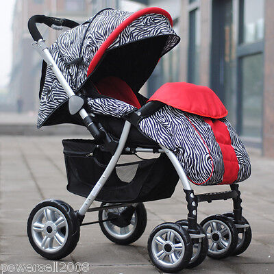 B01 1 Baby Zebra Print Fabric + Aluminum Alloy Collapsible 6 Wheels Strollers