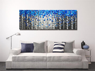 Abstract Blue Petal and Birch Tree 3 Panels Canvas Print Wall Art Oil Painting