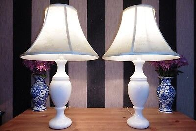 Large Pair Of Vintage Solid White Marble Table Lamps With Vintage Shades