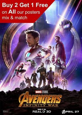 Marvel Avengers Infinity War Real 3D Movie Poster A5 A4 A3 A2 A1