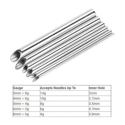 2-8mm Stainless Steel Body Piercing Needle Receiving Tube Body Jewelry Piercing
