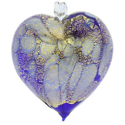 GlassOfVenice Murano Glass Spotted Heart Christmas Ornament - Blue Gold