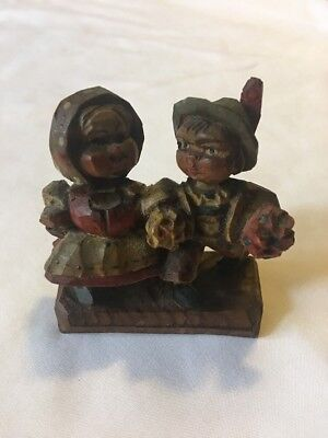 VINTAGE HAND CARVED WOOD Boy & Girl HOLDING FLOWERS-COULD BE OLD ANRI FIGURE-3""