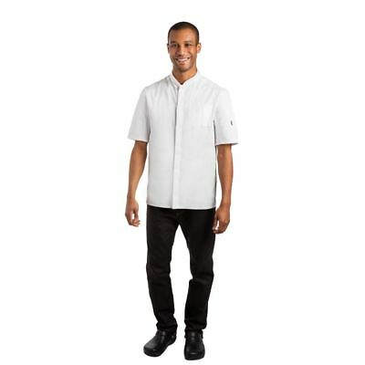 Le Chef Contemporary Unisex Men Women White Prep Shirt Short Sleeve Top Buttons