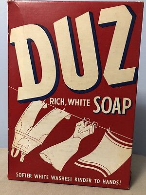 1950's DUZ Safe Suds Soap Detergent Unopened Full Grocery Box vintage unused