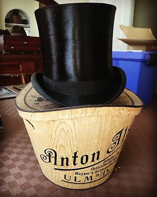 Black Silk Top Hat 6 3/4 with Box Ascot German Made
